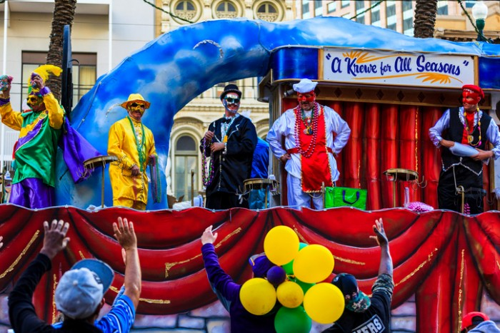 New Orleans USA  Feb 1 2016: Mardi Gras parades through the streets of New Orleans. People are celebrating and welcoming locals and visitors. This is the biggest annual  celebration  of the city.