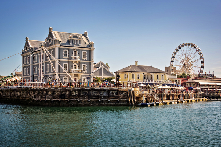 Cape Town, South Africa - April 18, 2014: Cape Town Waterfront, a modern touristic place with shopping malls and restaurants
