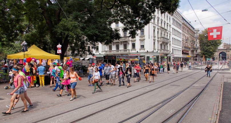 Zurich, Switzerland - 2 August, 2014: Bahnhofstrasse street on the day of the Street Parade. The Street Parade is the most attended technoparade in Europe, it takes place in Zurich, Switzerland.