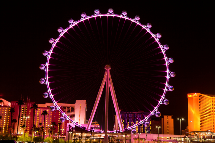 Las Vegas, Nevada, USA - September 25, 2014: Night picture of The High Roller  Ferris Wheel in Las Vegas stands tall 550-foot and has a diameter of   520-foot. The High Roller  is located on the east end of the area known as The LINQ on the Vegas Strip.