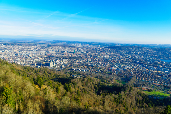 View of the city of Zurich from Uetliberg Mountain. Switzerland