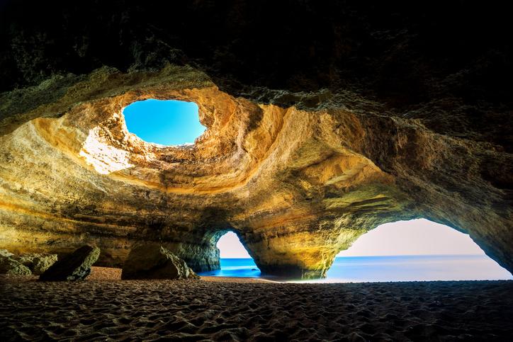 Beautiful natural cave in Benagil, Algarve, Portugal