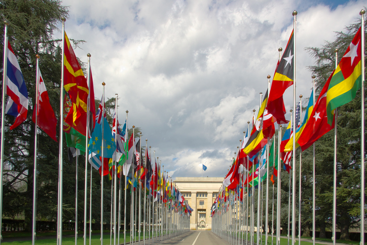 perspective view on an avenue with many national flags at the entrance to the UN, Geneva, Switzerland, under stormy clouds.