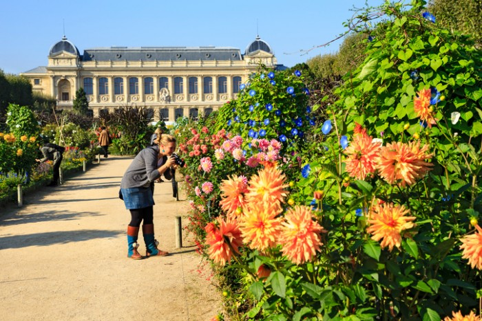 Paris, France - October 7th, 2013 : Tourists taking pictures of flowers in the Jardin de Plantes garden - main botanical garden in France
