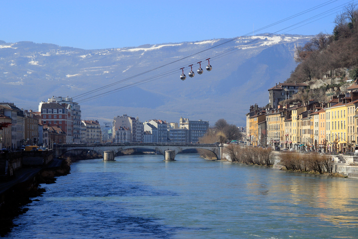Cable car from the Old town to Bastille in Grenoble. River Iser