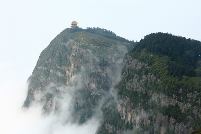 Beautiful Chinese pagoda and cloudy sea on Emei mountain.