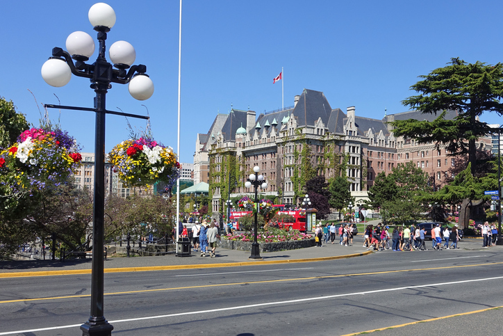 Victoria,Canada- June 30th,2015: picture of people walking around the Fairmont Empress hotel in Victoria,Canada.