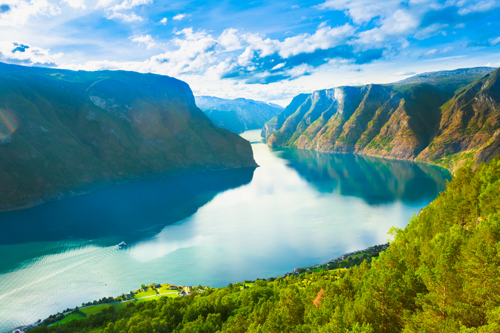 Norway Nature Fjord, Summer Sognefjord. Sunny Day, Landscape With Mountain, Pure Water Lake, Pond, Sea