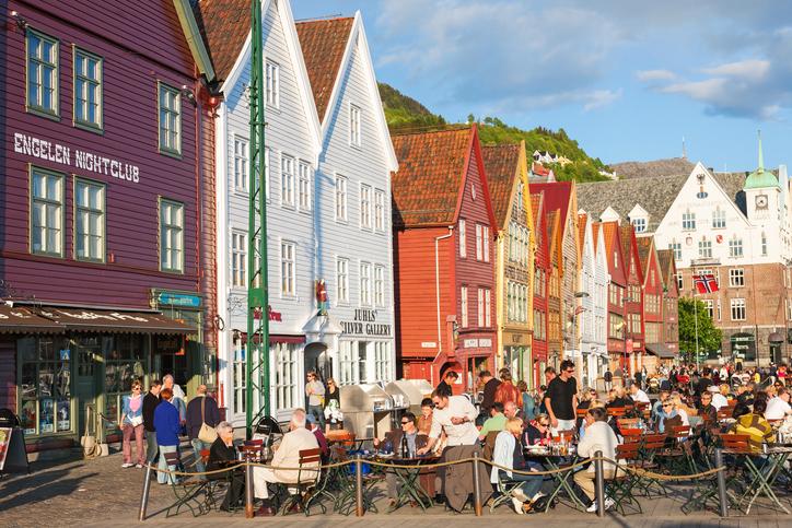 Restaurant at Bryggen in the city of Bergen, Norway