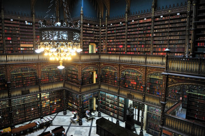 Rio de Janeiro, Brazil - April 5, 2010: The Real Gabinete Portugus de Leitura - Royal Portuguese Reading Room - has the largest and most valuable literary of Portuguese outside Portugal. Constructed between 1880 and 1887, it has more than 350,000 volumes, Rio de Janeiro, Brazil