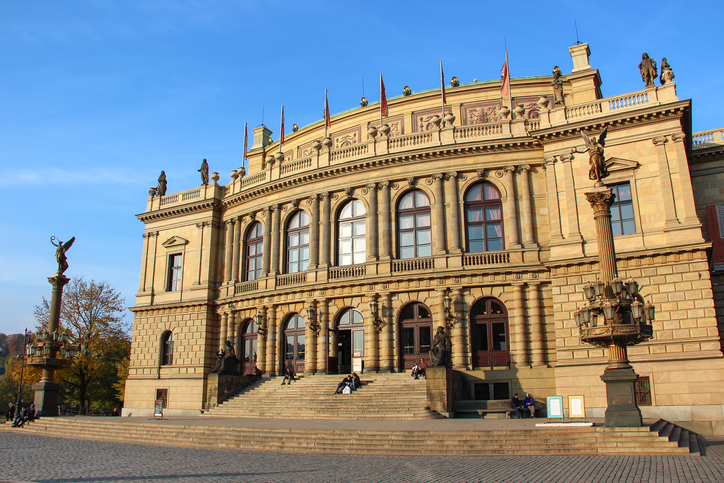 Prague, Czech Republic - October 26, 2015: The building of Rudolfiunum concert halls on Jan Palach Square in Prague, Czech Republic. Czech Philharmonic Orchestra.