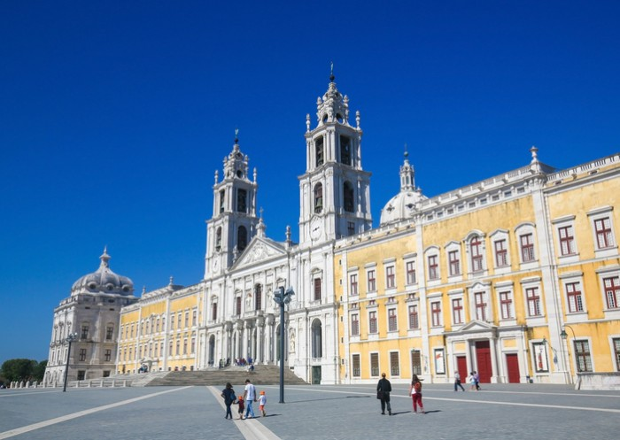 Mafra, Portugal - July 17, 2016: Unidentified people at the Palace of Mafra, Portugal, a famous royal palace built in the 18th Century.