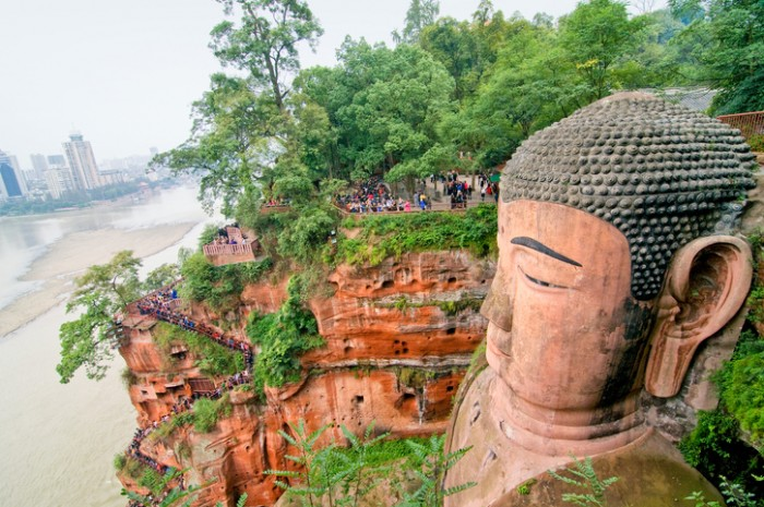 The most remarkable is the Giant Buddha of Leshan, carved out of a hillside in the 8th century and looking down on the confluence of three rivers. At 71 m high, it is the largest Buddha in the world. Mount Emei is also notable for its exceptionally diverse vegetation, ranging from subtropical to subalpine pine forests. Some of the trees there are more than 1,000 years old.