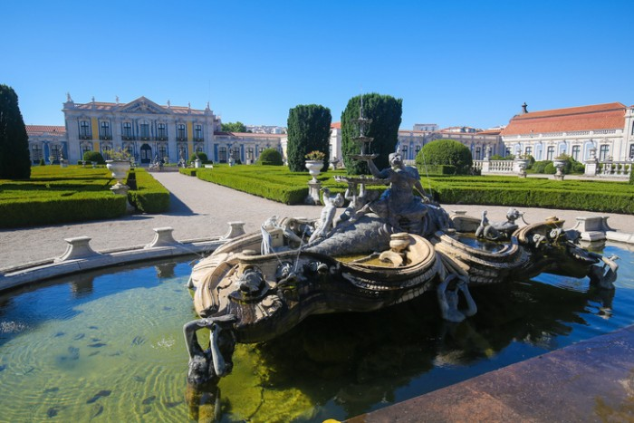 Queluz, Portugal - July 14, 2016: Fountain at the Palace of Queluz, a Portuguese 18th-century palace in Sintra Municipality, Lisbon District.