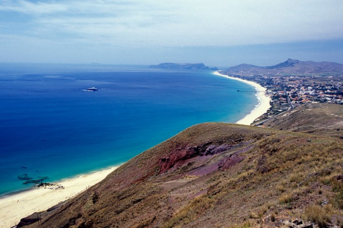 a Beach on the Island of Porto Santo ot the Madeira Islands in the Atlantic Ocean of Portugal.