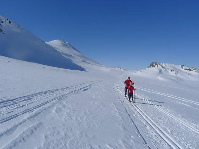 Two persons cross country skiing in Norwegian mountain on a sunny winter day