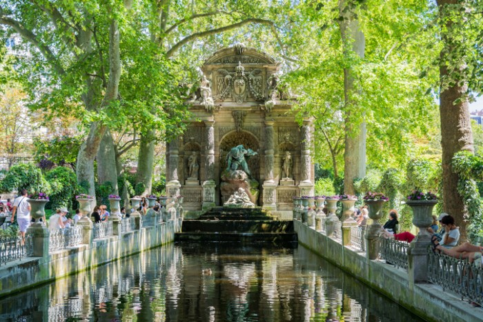 The Medici Fountain was built in 1630 by Marie de Medici.  It was designed by Tommaso Francini, a Florentine fountain maker and hydraulic engineer.