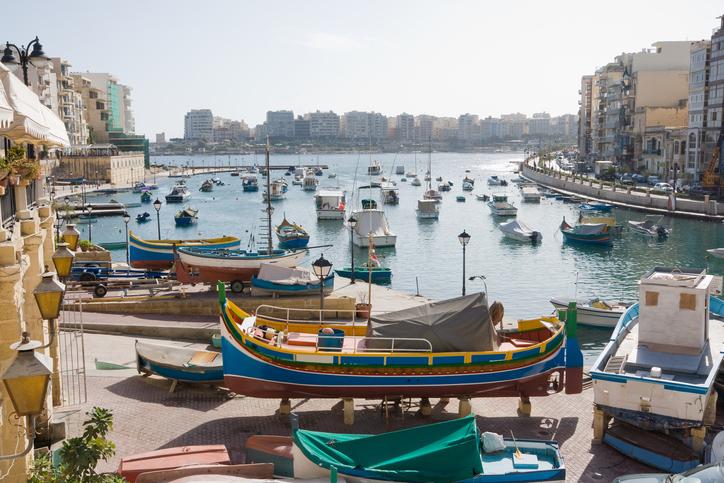 View across harbour at St. Julians, Malta.