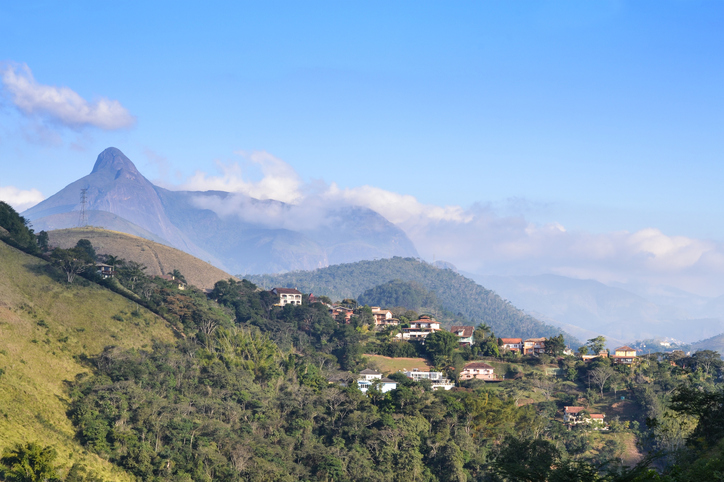 Panoramic view of a remnant of the Atlantic Forest in the mountains of Itaipava, Petropolis, Brazil, being occupied by housing developments