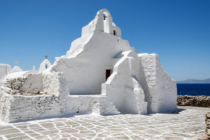 Famous church in the Island of Mykonos, Cyclades. Greece