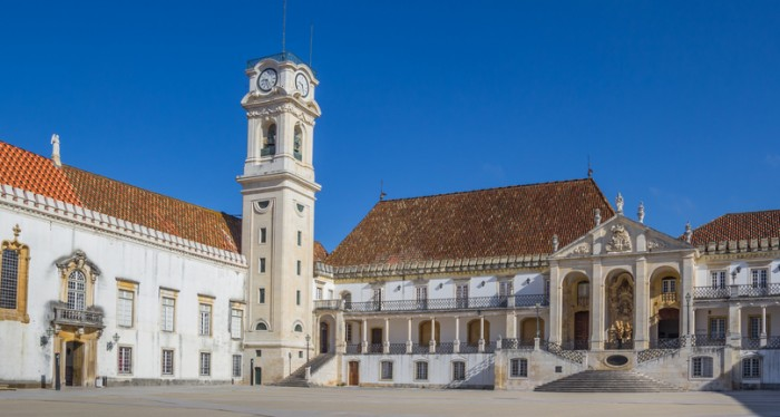 University square and bell tower in Coimbra, Portugal