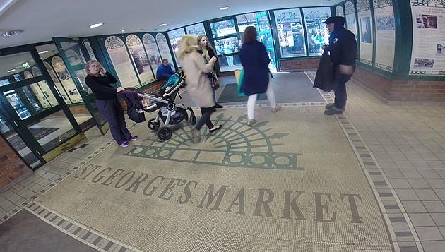 Entrada do St George Market na Irlanda do Norte.
