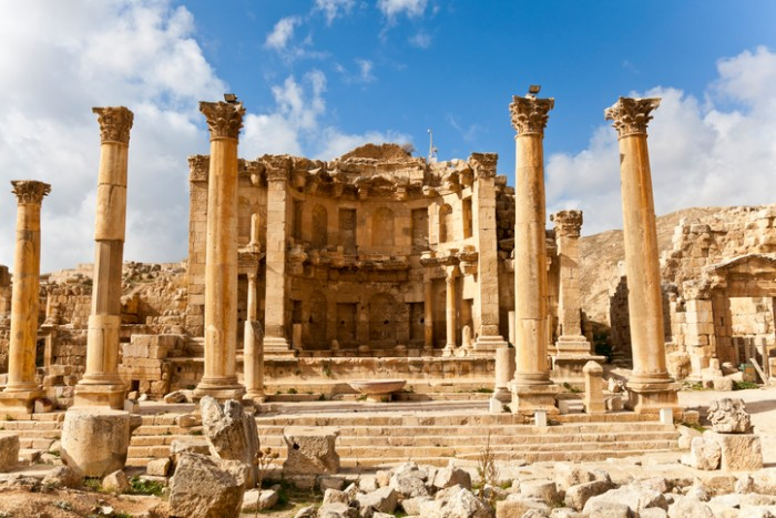 """the nymphaeum in the roman ancient city of jerash, jordan"""