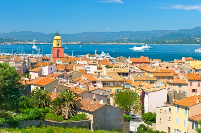 """""""Beautiful view of Saint-Tropez, France with seascape and blue sky"""""""