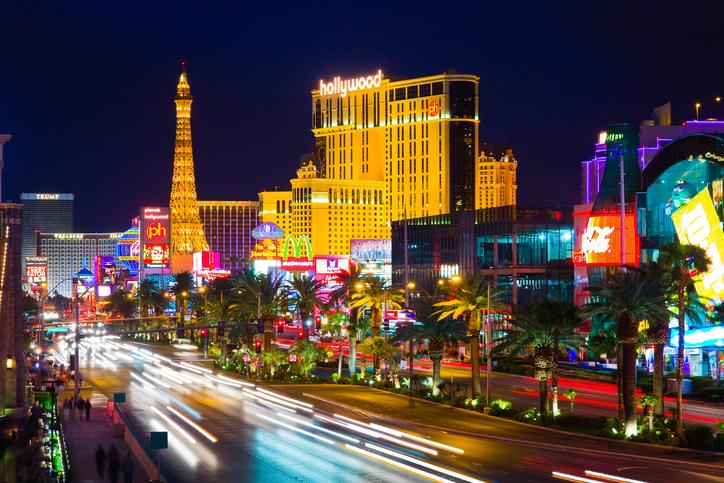 """Las Vegas, USA - April 15, 2009: In this time lapse image, traffic travels along the Las Vegas strip. The strip is approximately 4.2 mi (6.8 km) long."""