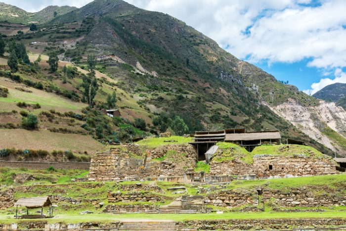 Ruined pre-incan temple at Chavin de Huantar in central Peru