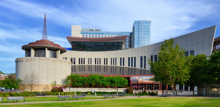 Nashville, Tennessee, USA - June 14, 2013: Exterior of the Country Music Hall of Fame. The museum opened in 1961 and preserves the evolving history and traditions of country music.