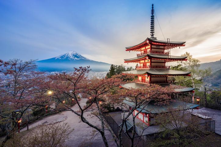 Fujiyoshida, Japan - April 24,2015 : Chureito Pagoda of Arakura Sengen Shrine stands before Mt Fuji on April 24,2015 in Fujiyoshida prefecture, Japan.