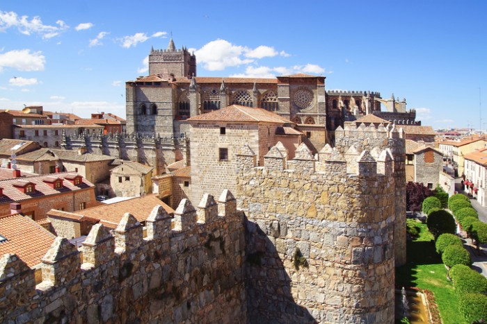 Avila Cathedral from old Fortress Wall, Spain