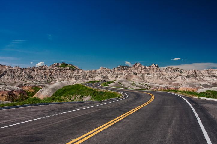 Badlands, North Dakota, USA, June 2nd 2014, driving through the rock formations of badlands national park