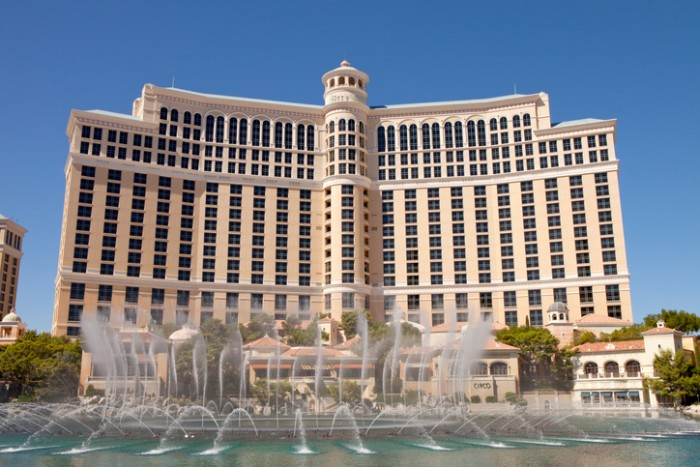 Las Vegas, Nevada, USA - September 22, 2014: Fountains at  the Bellagio Casino and Hotel in Las Vegas, Nevada. More than 1,000 fountains dance in front of the hotel every half hour during the day and every 15 minutes, nightly, enhanced by music and light. Water shoots as high as 245 feet in the air during the show.