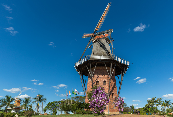 Holambra, Brazil - July 2, 2016: A functional full-scale traditional Dutch-style windmill
