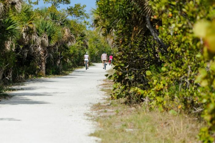 Sanibel Island, Florida, USA - February 25, 2011: Cyclists riding sandy trail through Ding Darling National Wildlife Refuge