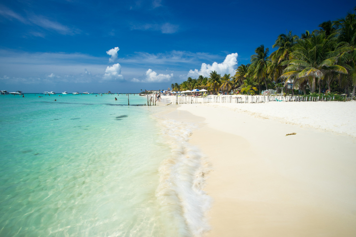The amazing blue water of North Beach on Isla Mujeres in Cancun, Mexico