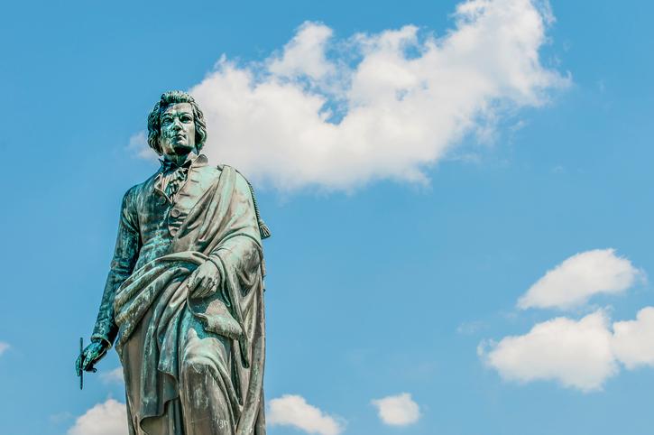Mozart statue on Mozart Square (Mozartplatz) located at Salzburg, Austria