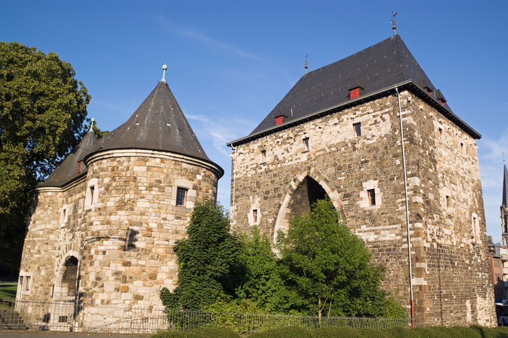 North facade of Ponttor, one of the eleven gates which provided access to Aachen (Germany). Built during the 13th century as part of the extrenal city encircling wall, Ponttor is one of the two gates that still stands in Aachen.