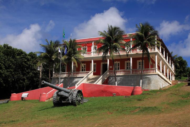 North Eastern Brazil, Pernambuco State, 'Fernando de Noronha' Marine nature reserve Town hall - Portuguese colonial architecture. - UNESCO World Heritage Site.
