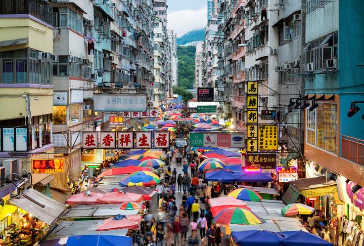 Busy street market at Fa Yuen Street at Mong Kok area of Kowloon, Hong Kong.