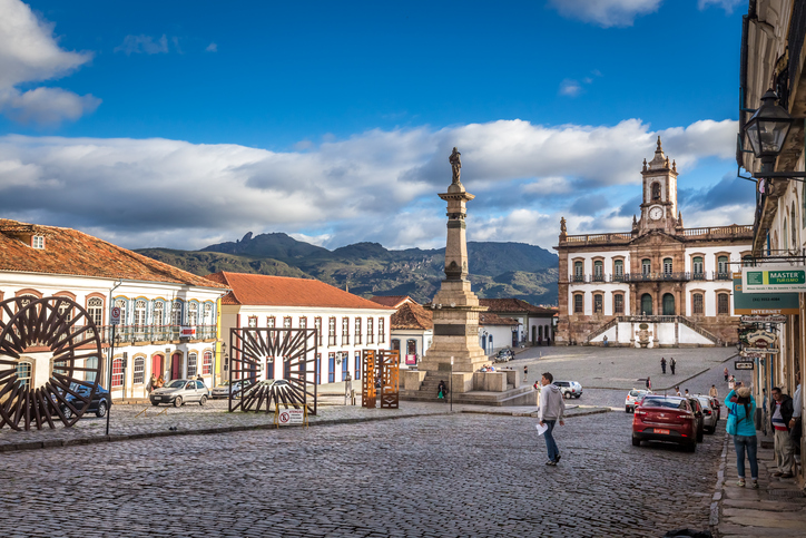 Ouro Preto, Brazil - December 2, 2014: Street scene of Teradentes Square The centre of The city  with typical architecture ,UNESCO world heritage city center of Ouro Preto in Brazil