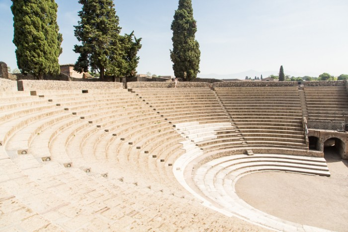 Ancient amphitheater in the lost city of Pompeii