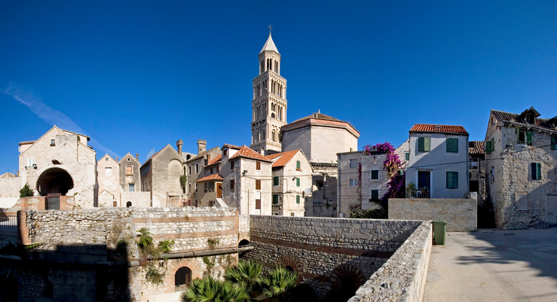 Diocletian's Palace is a building in Split, Croatia, that was built by the Roman emperor Diocletian at the turn of the fourth century AD.