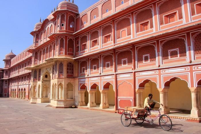 Jaipur, India - February 27, 2011: Chandra Mahal in Jaipur City Palace, Rajasthan, India. Palace was the seat of the Maharaja of Jaipur, the head of the Kachwaha Rajput clan.