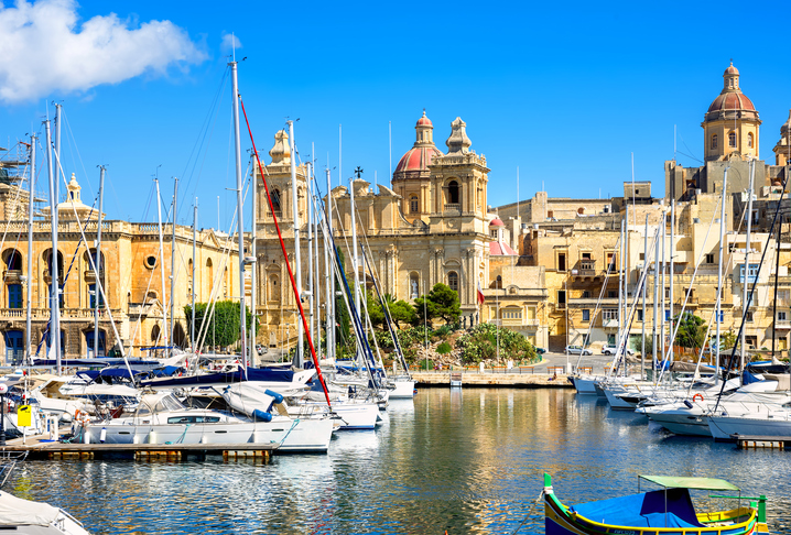 Waterfront of Vittoriosa Harbour and St. Lawrence's Church. Malta, Europe