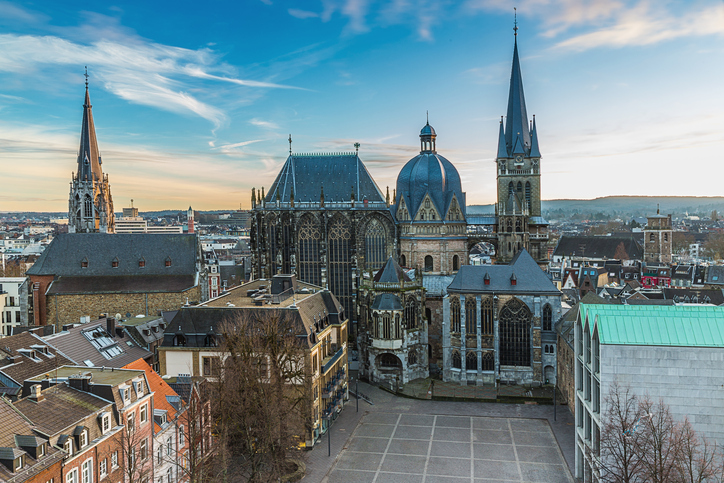 The cathedral in Aachen (Germany) at the sunset. UNESCO World Heritage Site. Taken in outside with a 5D mark III.