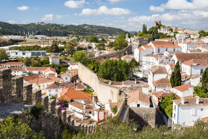 The medieval village of Obidos in Portugal, viewed from the inner walls