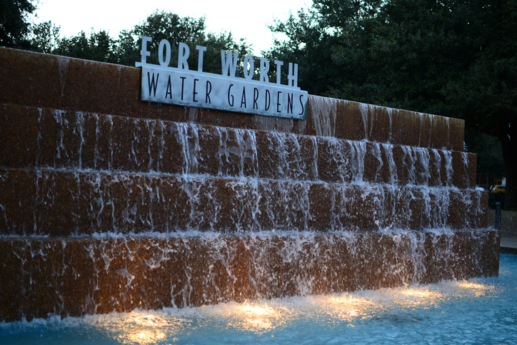 Fort Worth, Texas, United States - February 9, 2015: Fort Worth Water Gardens in Texas, United States at night.